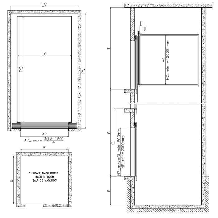 Ascensore montacarichi dimensioni installazione for Dimensioni ascensore